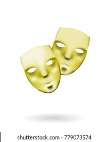Gold theatrical masks. Comedy and tragedy, Shiny masks isolated on white background.
