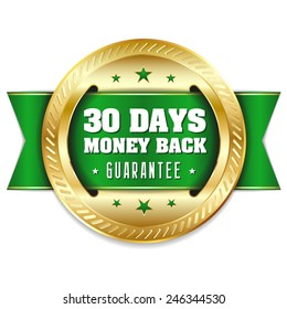 Gold thirty days money back badge with green ribbon