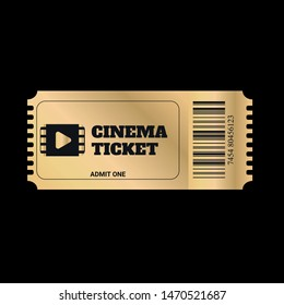 Gold ticket. Cinema, theatre, concert, play, party, event and festival gold ticket realistic template set.