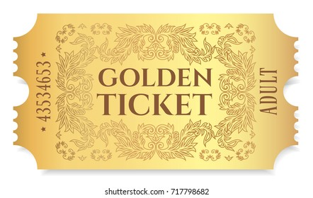 Gold ticket, golden token (tear-off ticket, coupon) isolated on white background. Useful for any festival, party, cinema, event, entertainment show