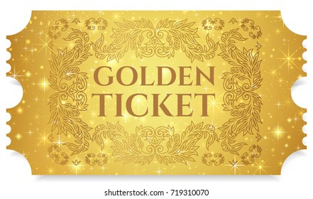 Gold ticket, golden token (tear-off ticket, coupon) with star magical background. Useful for any festival, party, cinema, event, entertainment magic show. VIP card