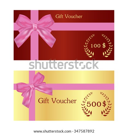 gold ticket voucher gift certificate coupon stock vector royalty