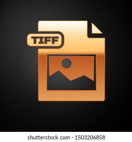 Gold TIFF file document. Download tiff button icon isolated on black background. TIFF file symbol.  Vector Illustration