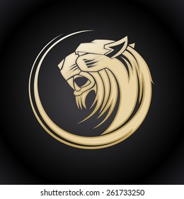 Gold tiger head logo template.