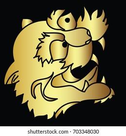 Gold tiger head vector on black background.Japanese tiger tattoo design.