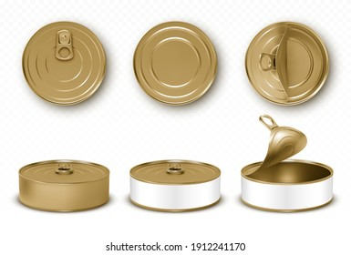 Gold tin cans, fish or pet food mockup with pull ring top and front view. Closed and open empty yellow canned round open key metal jars, isolated aluminium preserve canisters, Realistic 3d vector set