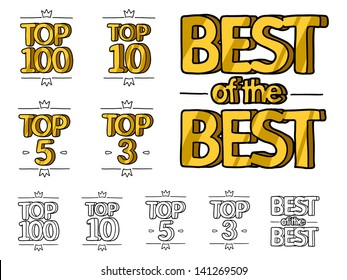 gold top hundred, top ten, top five and top three ranking and best of the best rank. colored sketch illustration and black and white sketch