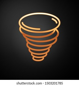 Gold Tornado icon isolated on black background. Cyclone, whirlwind, storm funnel, hurricane wind or twister weather icon.  Vector Illustration