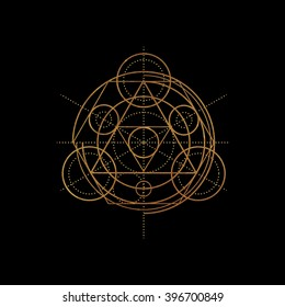 Gold Transmutation circles. Line art.  Alchemical abstract symbol. Sacred geometry. Black background. Stock vector.