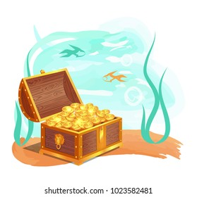 Gold treasure in wooden chest at ocean bottom. Shiny coins hidden in water among fishes and seaweed. Precious treasures isolated vector illustration.