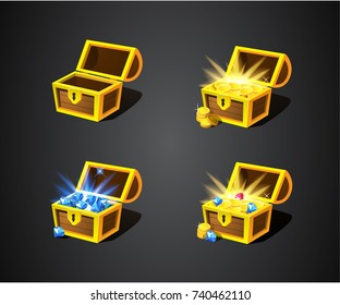 Gold treasures and diamonds. Treasure on dark background in wooden chest. Four open chest: empty, with coins, with diamonds and mix. Pirate money. Cartoon icons for web, games, interface. Vector