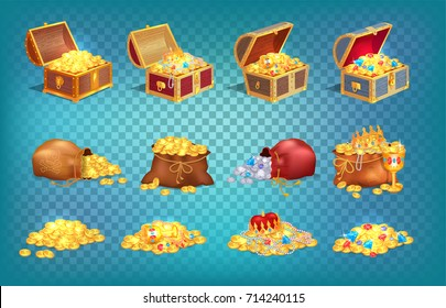 Gold treasures with expensive diamonds and luxury crowns in old wooden chest and fabric bags isolated vector illustrations on transparent background.