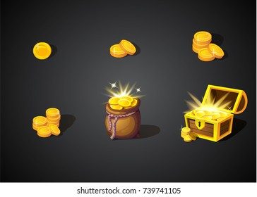 Gold treasures on dark background: by the piece, stack, in open old bag and wooden chest. Hidden ancient pirate money for winner. Cartoon coins icons for web, games. Vector illustration
