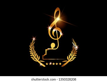 Gold treble clef s trophy isolated on black. Music award concept, Gold vector best music awards winner and golden violin key