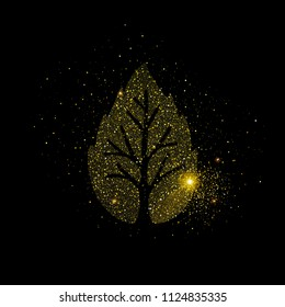 Gold tree made of golden glitter dust on isolated black background. Luxury nature concept illustration. EPS10 vector.