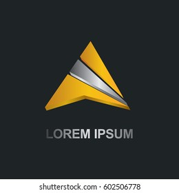 gold triangle shape 3D logo