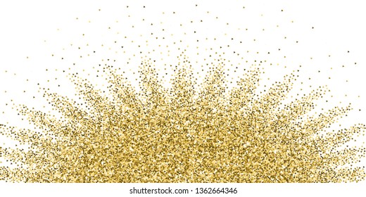 Gold triangles glitter luxury sparkling confetti. Scattered small gold particles on white background. Authentic festive overlay template. Popular vector illustration.