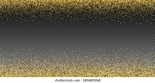 Gold triangles glitter luxury sparkling confetti. Scattered small gold particles on transparent background. Artistic festive overlay template. Radiant vector illustration.