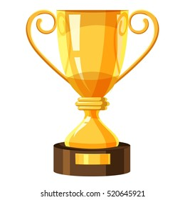 Gold trophy cup icon. Cartoon illustration of trophy cup vector icon for web. Championship team achievement or award