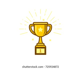 Gold trophy cup icon vector illustration