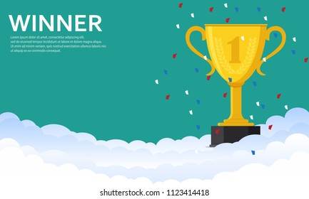 Gold trophy Cup on the cloud.Trophy Cup -vector illustration