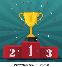 Gold trophy Cup on prize podium -vector illustration