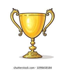 Gold Trophy Cup. Winner Concept. Hand drawn vector illustration isolated on white background.