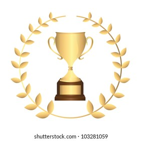 gold trophy with laurel wreath isolated over white background. vector