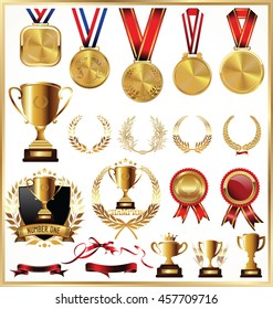 Gold trophy and medal with laurel wreath vector collection
