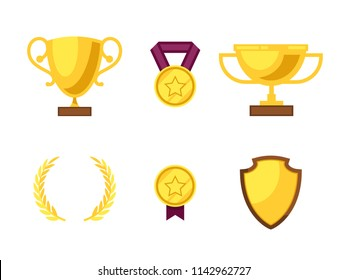 Gold trophy set illustration Vector Flat Trophy icon on a white background