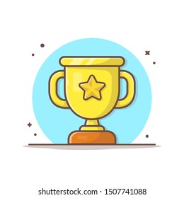 Gold Trophy Vector Icon Illustration. Golden Goblet With Star In The Middle Sport Icon Concept White Isolated. Flat Cartoon Style Suitable for Web Landing Page, Banner, Sticker, Background