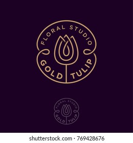 Gold tulip logo. Flower studio emblem. Beautiful linear logo, in the form of a tulip with letters in the circle.