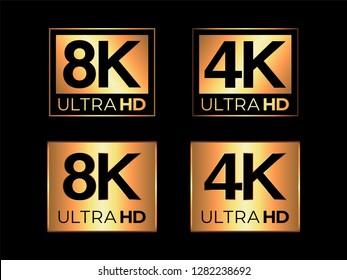 Gold Ultra HD 8K and 4K Logo Set