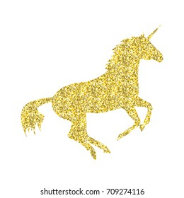 Gold Unicorn mythical horse in silhouette standing on hind legs