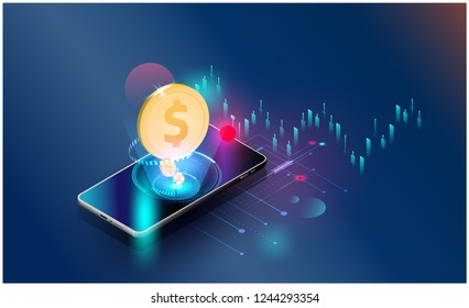 gold US dollar coin stock market forex trading graph Vector futuristic  Smart investment technology controlling protection system global Network financial investment economic trends background