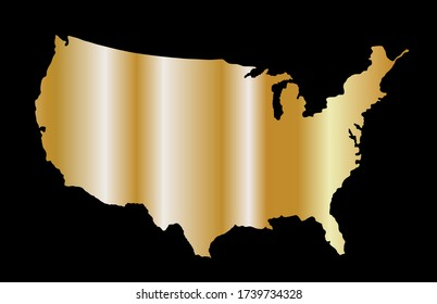 Gold USA map vector silhouette isolated on black background. United States of America map gold design. Strong and powerful economy symbol.