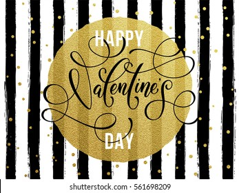 Gold Valentine Day calligraphy text with vector greeting card on black watercolor stripes background with golden foil glitter dots.