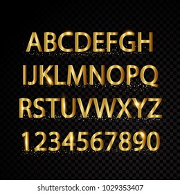 Gold vector alphabetical letters and numbers isolated on black background