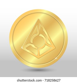 Gold vector augur coin on a gray background. Virtual currency