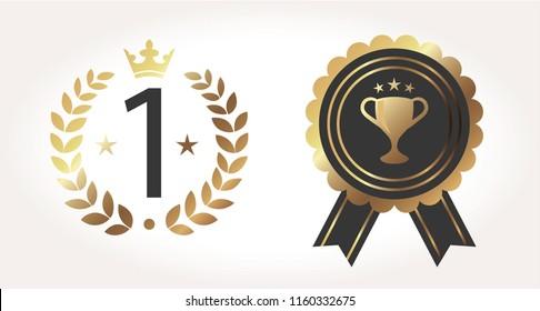 Gold vector award badges set. Vector illustration EPS10
