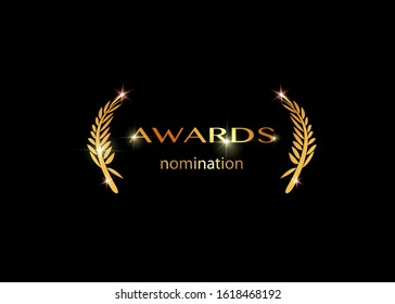 Gold vector best awards nomination concept template with golden shiny text isolated or black background. Award prize icon