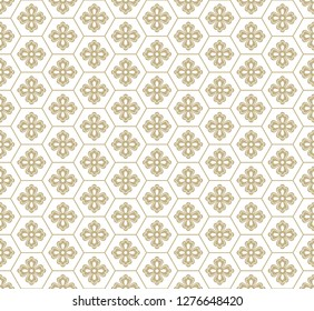 Gold vector flowers and geometric elements. Traditional Japanese seamless pattern. You can also use the pattern for fabric or wrapping paper, for curtains and rugs.