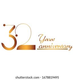 gold vector logo 32 year anniversary