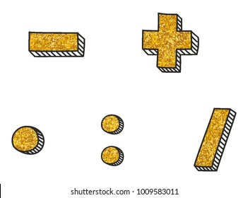 Gold vector math symbol set isolated on white