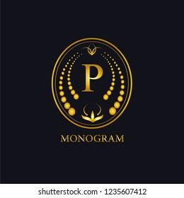 Gold vector monogram in golden elegant frame. Monographs and exclusive calligraphic design elements. Vector business sign, identity for hotel, restaurant, jewelry, fashion.