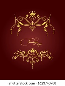 Gold vector ornament on brown background. Can be used as invitation card or cover.