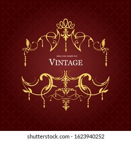 Gold vector ornament on brown background. Can be used as invitation card.