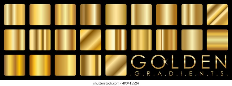 Gold Vector set of golden gradients