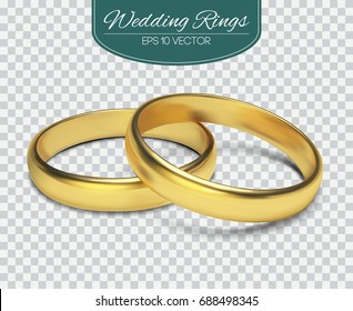 Gold vector wedding rings isolated on trasparent background. Vector illustration. Marriage invitation elements.