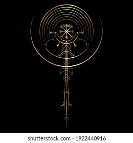 Gold Vegvisir magic navigation compass ancient. The Vikings used many symbols in accordance to Norse mythology,  widely used in Viking society. Round Logo icon Wiccan esoteric sign isolated on black